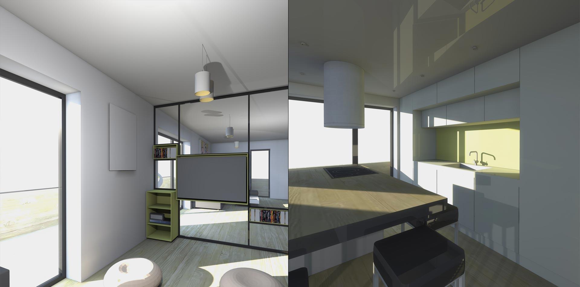 petit salon coin t l et cuisine am ricaine appartement boulogne billancourt sof. Black Bedroom Furniture Sets. Home Design Ideas