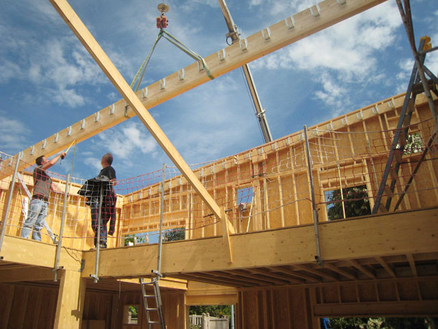 chantier de la maison en bois douglas à Montlignon 30 mai 2011