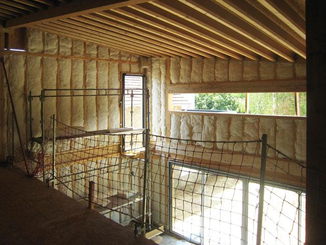 chantier de la maison en bois douglas à Montlignon 27 juin  2011